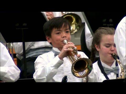 Kaden on Trumpet and Flugelhorn, Straub Middle School Jazz Band, West Salem Jazz Festival, 2/8/2020