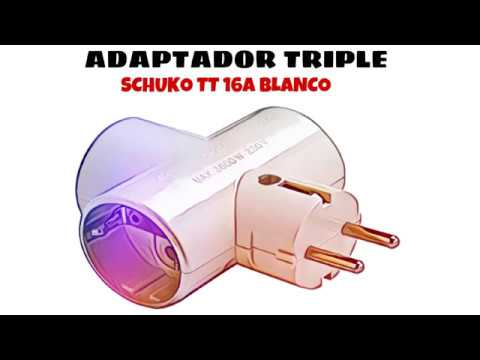 Video de Adaptador triple Schuko TT 16A  Blanco