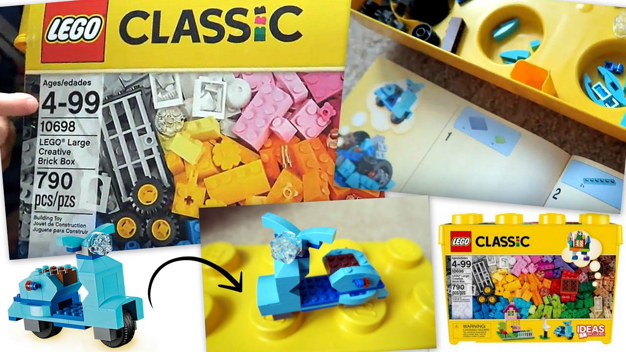 LEGO CLASSIC LARGE CREATIVE BRICK BOX 10698 Unboxing || Let's Build Lego  BLUE VESPA!