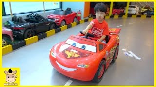 Disney car and Tayo bus Racing Ride On Drive Park Playtime Fun Toys Kids Cafe | MariAndKids Toys