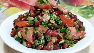 Салат с фасолью и помидорами ! Без майонеза ! Вкусная заправка ! ПП рецепт !