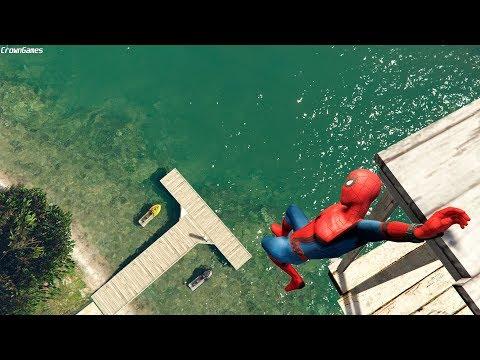 GTA 5 Crazy Spiderman Water Falls & Ragdoll Jumps - Ep.9 [Funny Moments Euphoria Physics]