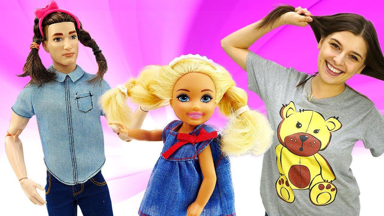 Куклы Барби и салон красоты - новая прическа Кена. Интересные видео для девочек