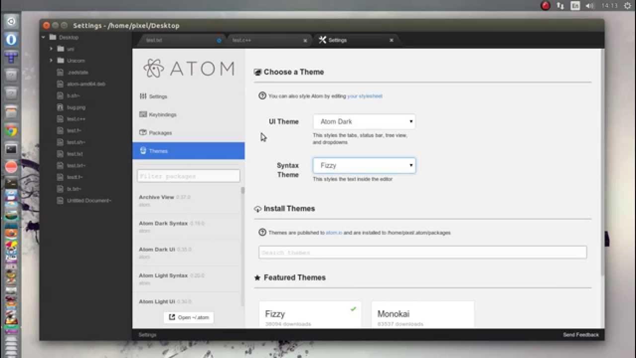 Atom text editor on Ubuntu linux