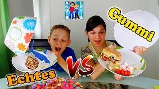 GUMMY FOOD VS. REAL FOOD - GUMMI ESSEN vs. ECHTES ESSEN 2 ! Family fun Angie und Levis Kinderkanal