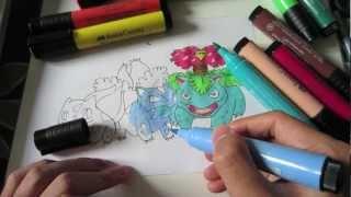 How to draw Pokemon: No.1 Bulbasaur, No.2 Ivysaur and No.3 Venasaur