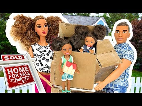 Barbie Sisters Move in New House - Kitchen Bedroom Pink  | Naiah and Elli Doll Show #1