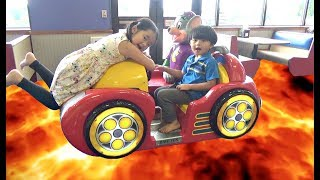 THE FLOOR IS LAVA CHALLENGE at Chuck E Cheese! Family Fun Kids Pretend Playtime