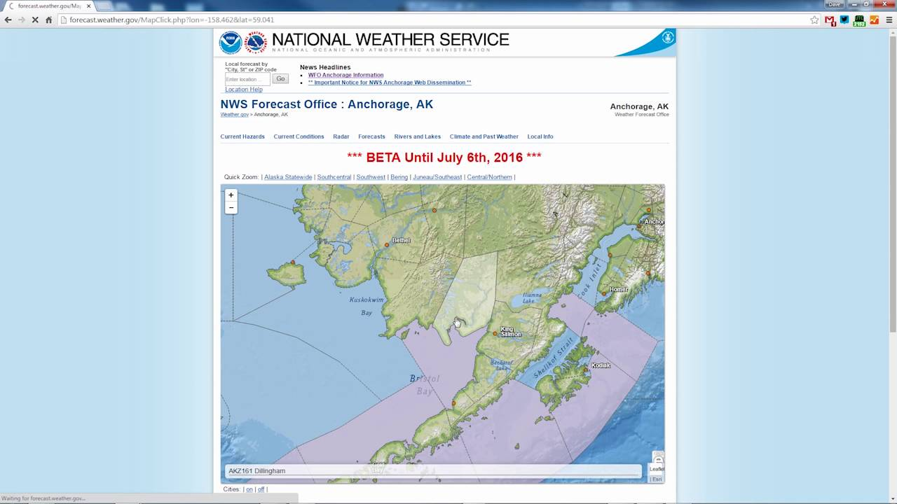 National Weather Service Web Page Changes Find Your Alaska - Nws us weather map