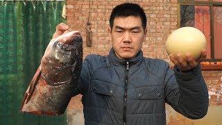 【食味阿远】150块买了个5斤的鱼头,又做个大葱炒鸵鸟蛋,朋友说菜不够吃了   Shi Wei A Yuan