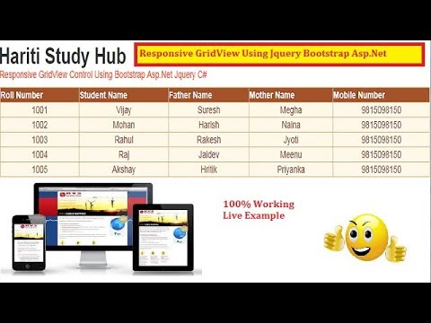 Responsive Grid View For Tablet, Mobile, Desktop Using Asp Net Jquery  BootStrap C# | Hindi Class