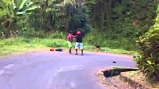 st lucia lady beating the crap outa man
