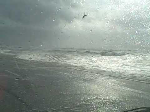 Driving down the Galveston seawall as Hurricane Ike comes ashore.