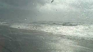 Driving down the Galveston seawall as Hurricane Ike comes ashore.