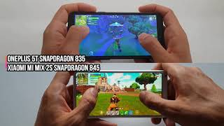 OnePlus 5T vs Xiaomi Mi Mix 2s gaming comparison/Fortnite Gameplay/Snapdragon 835 vs 845