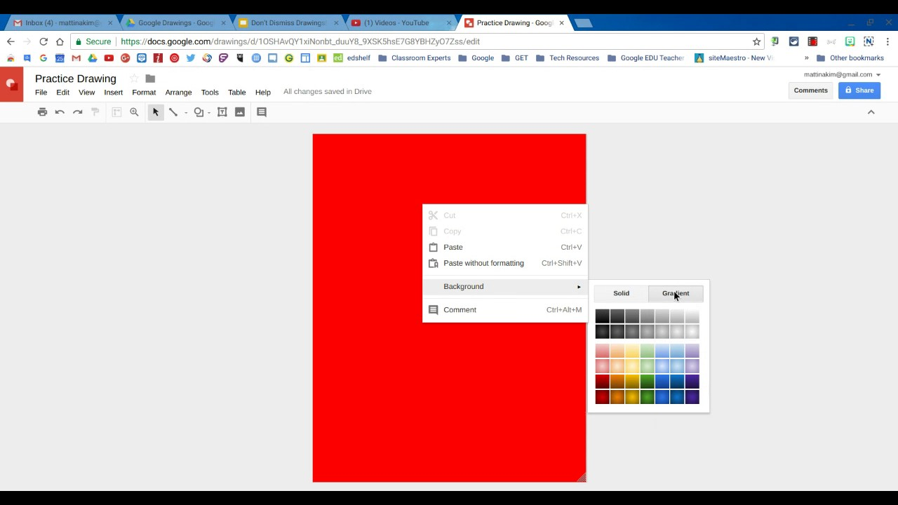 How to color in google docs - Change Background Color In Google Drawings