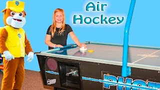 ASSISTANT Air Hockey with Paw Patrol +PJ Masks + Big Bad Wolf in Real Life