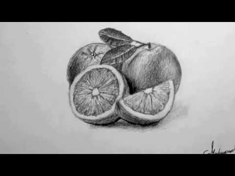 تعلم رسم وتظليل البرتقال بطريقة سهله جدا -  how to draw an orange