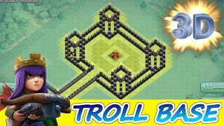 "Clash Of Clans | INCREDIBLE 3D TROLL BASE! A MUST WATCH! | ""THE QUEENS CASTLE"""