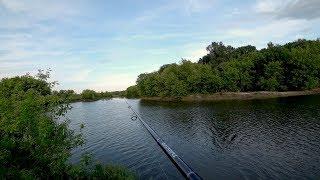 Рыбалка с берега на спиннинг. Рыбалка летом на реке.