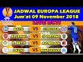 Jadwal Europa League Matchday 4  [LIVE RCTI] Jum'at 09 November 2018