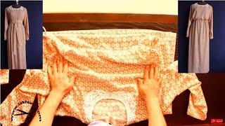 #تعليم_الخياطة_للمبتدئين بالفيديو | تفصيل فستان طويل بالاكمام