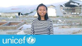 After Indonesia's earthquake, Sophia goes to school in a tent   UNICEF