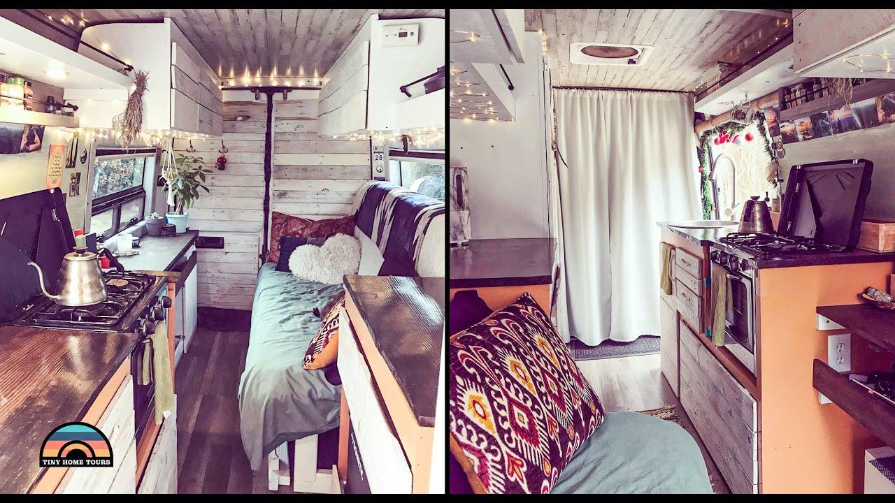 Couple's DIY Sprinter Camper Van Tiny House - Minimalist Life On The Road