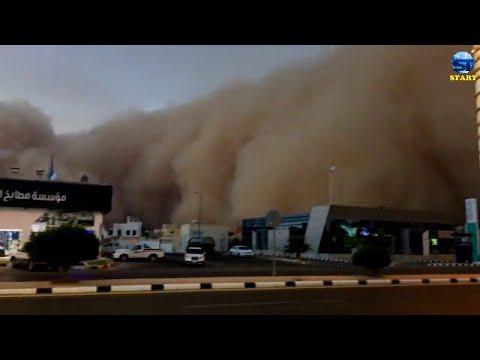 عاصفة غبارية عملاقة تقلب النهار الى ظلام شمال السعودية ، القصيم