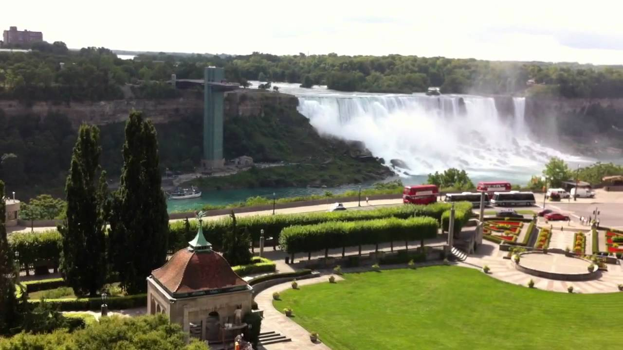 View from niagara falls sheraton rooftop pool youtube for Pool spa show niagara falls