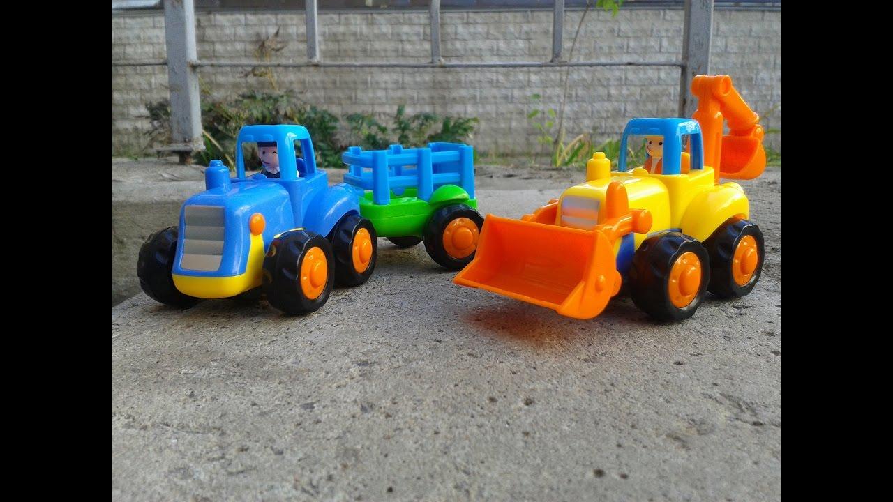 Мультик для детей игрушки про Синий Трактор с прицепом ...
