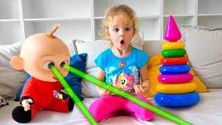 Pretend Play with naughty Baby Doll & Toys /  Весёлые истории про пупсика