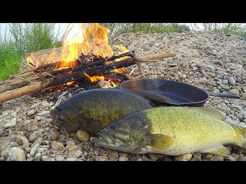 Catch n' Cook Smallmouth Bass on a River!