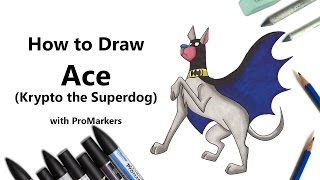 How to Draw and Color Ace from Krypto the Superdog with ProMarkers [Speed Drawing]