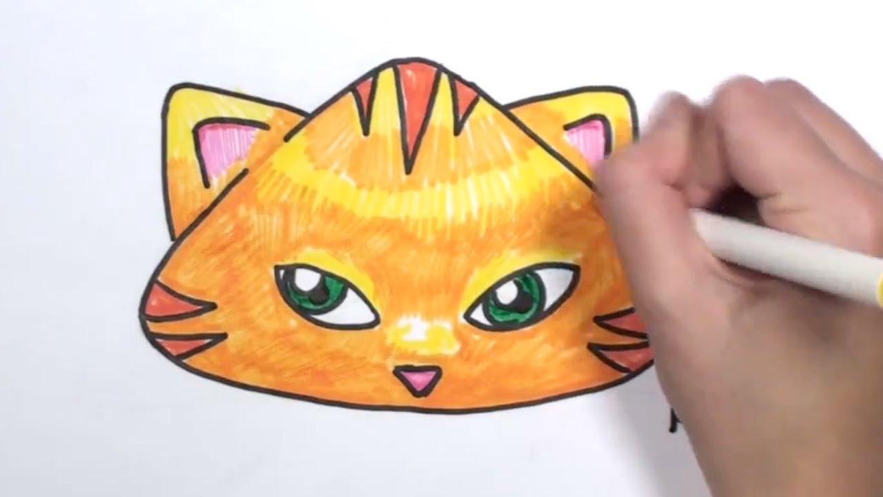 How To Draw A Cartoon Cat Face Mlt