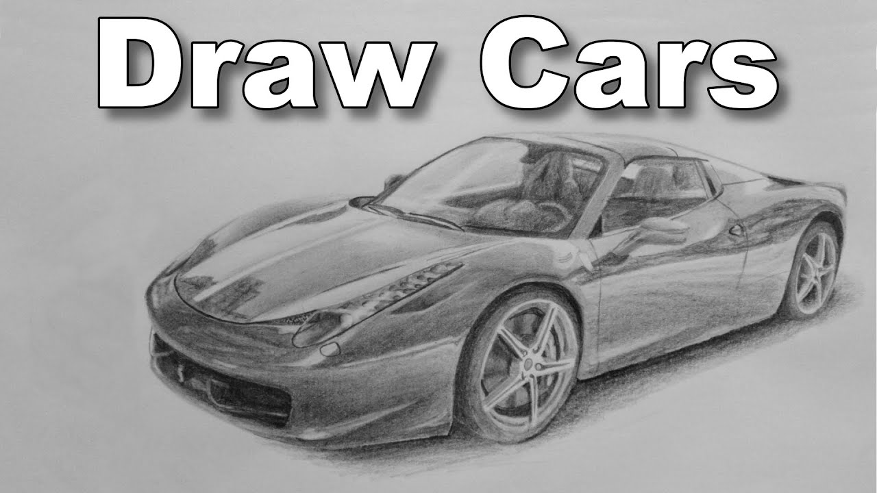 How to draw a car ferrari pencil drawing time lapse tutorial
