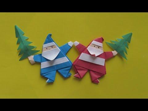 ОРИГАМИ ДЕД МОРОЗ (магнит) Новогодняя Поделка из Бумаги Своими Руками для Начинающих.
