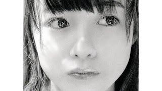 鉛筆画 橋本環奈 完成までの一部始終 動画 早送り / Pencil drawing/ Kanna Hashimoto/ Portrait/ How To Draw thumbnail