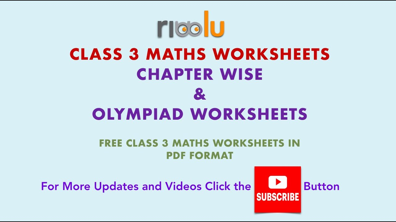 Cbse Class 3 Mathematics Practice Worksheets For Grade 3 Kids Youtube