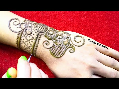 One Side Simple Stylish Mehndi Design for Backhands |Thought of Creation