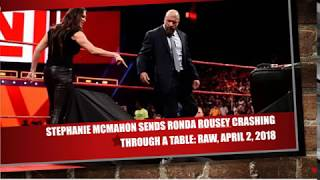 ✪✪✪ Stephanie McMahon sends Ronda Rousey crashing through a table: Raw, April 2, 2018