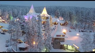 santa claus home town rovaniemi in lapland finland by air   father christmas home arctic circle