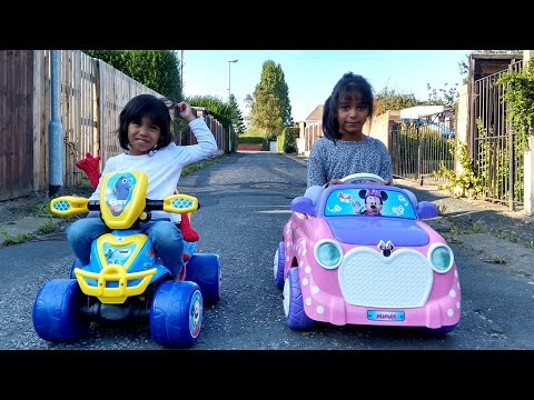 Little Girls Power Wheels Ride On Cars Race COMPILATION | Pink BMW Mini Cooper Finding Dory Quad
