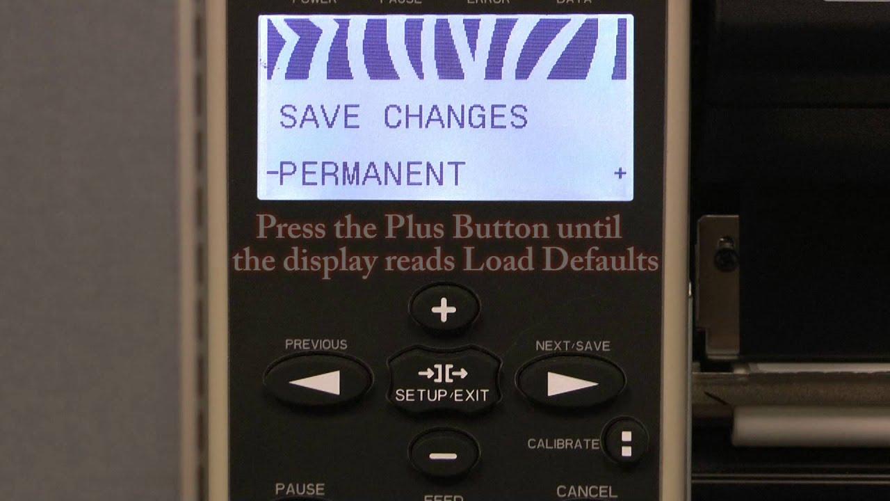 Zebra 110Xi4: Resetting Factory Defaults