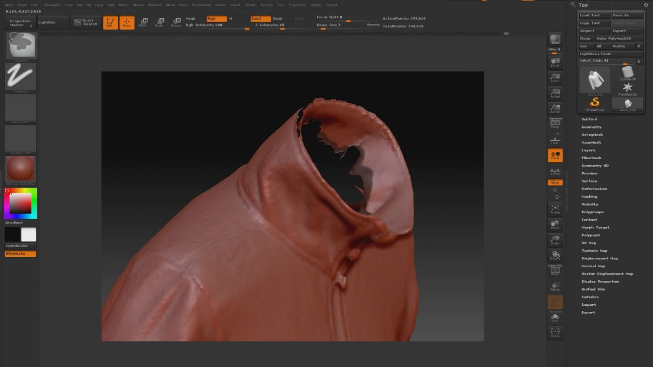 Retopology 3d scan and bake textures (3dsmax & zbrush)