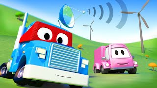 The satellite truck  - Carl the Super Truck - Car City ! Cars and Trucks Cartoon for kids