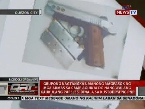Grupong nagtangka umanong magpasok ng mga armas sa Camp Aguinaldo, dinala sa kustodiya ng PNP