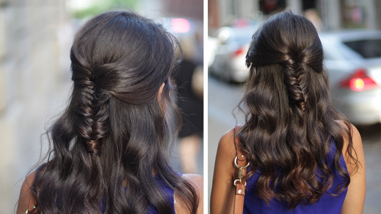 Half-Up Half Down Fishtail Braid Hair Tutorial