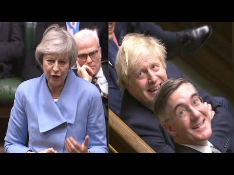 Jacob Rees-Mogg and Boris Johnson in stitches after May's brutal swipe at Remainer Brexit blockers