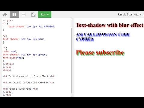 CSS3 text shadow property -- W3Schools Editor